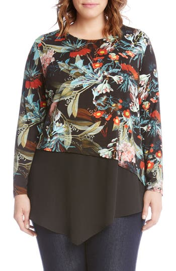 Plus Size Women's Karen Kane Asymmetrical Floral Top, Size 2X - Black