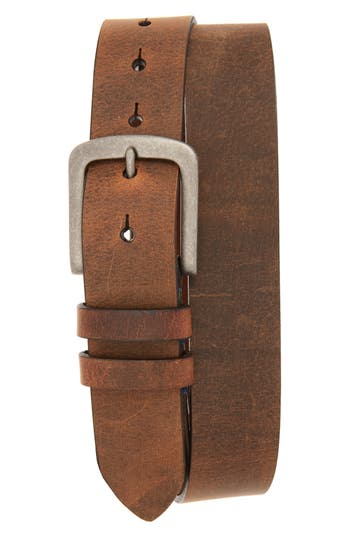 Torino Belts Distressed Waxed Harness Leather Belt, Brown