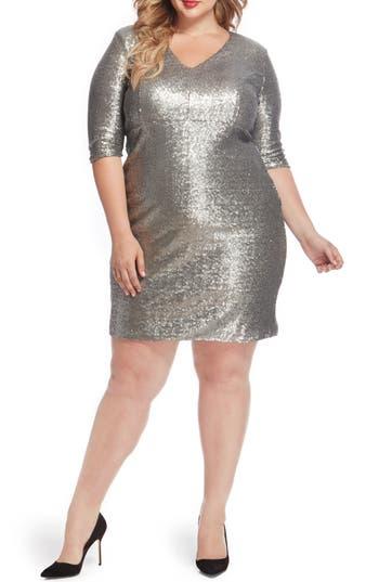 Plus Size Women's Rebel Wilson X Angels Empire Waist Sequin Dress, Size 22W - Metallic