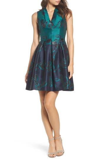 Vince Camuto Jacquard Fit & Flare Dress, Blue