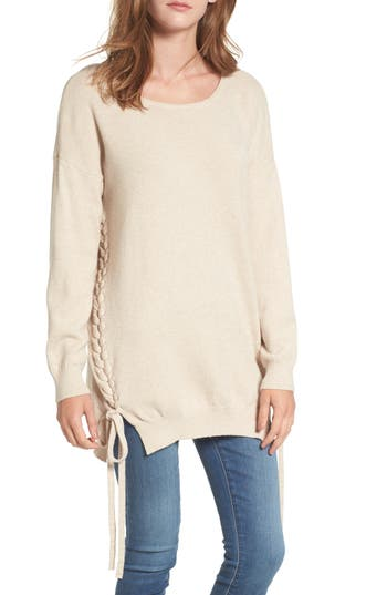 Women's Dreamers By Debut Lace-Up Tunic Sweater, Size X-Small - Beige