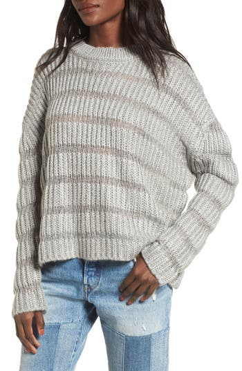Women's Moon River Textured Stripe Crop Sweater, Size X-Small - Grey