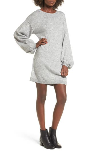 Bp. Tie Back Bell Sleeve Sweater Dress, Grey