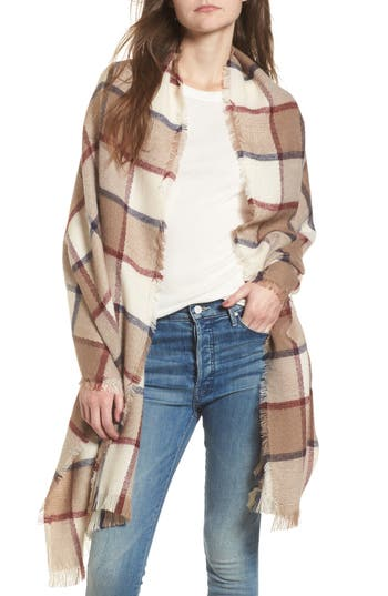 Women's Sole Society Windowpane Check Blanket Scarf, Size One Size - Ivory