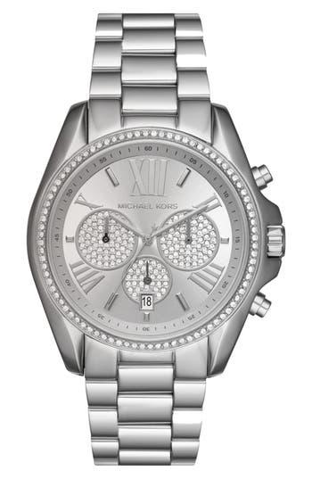 Women's Michael Kors Bradshaw Crystal Pavé Chronograph Bracelet Watch, 43Mm