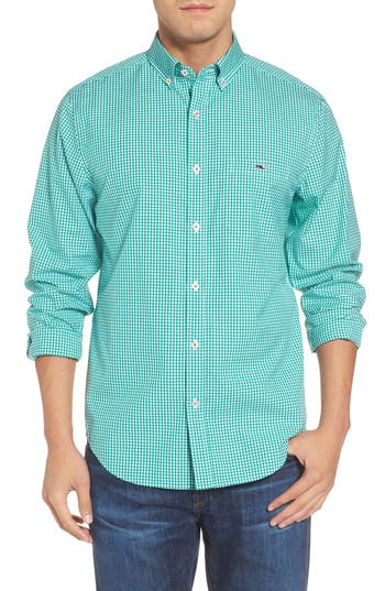 Men's Vineyard Vines Tucker Old Town Classic Fit Gingham Sport Shirt, Size Small - Green