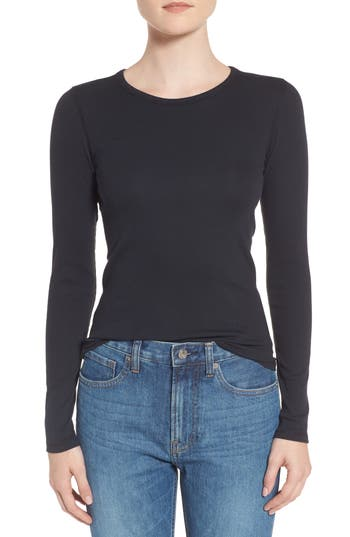 Women's Everlane The Pima Micro Rib Long Sleeve Crew, Size XX-Small - Black