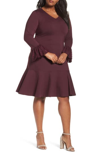 Plus Size Women's Sejour Flounce Hem Dress