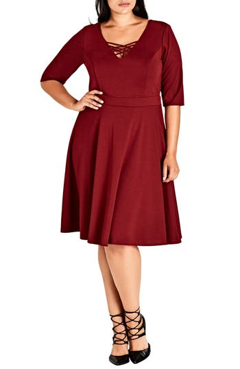 Plus Size City Chic X Front Skater Dress, Red
