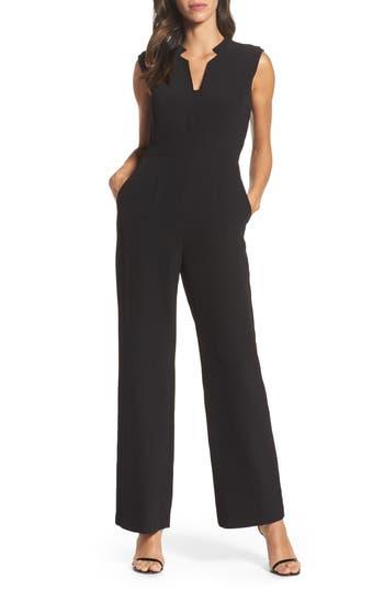 TAHARI Split-Neck Jumpsuit in Black