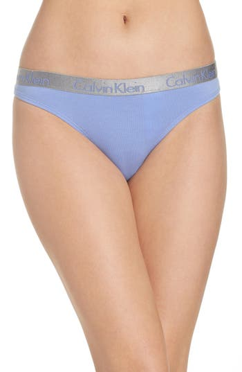 Women's Calvin Klein 'Radiant' Cotton Thong, Size Small - Blue
