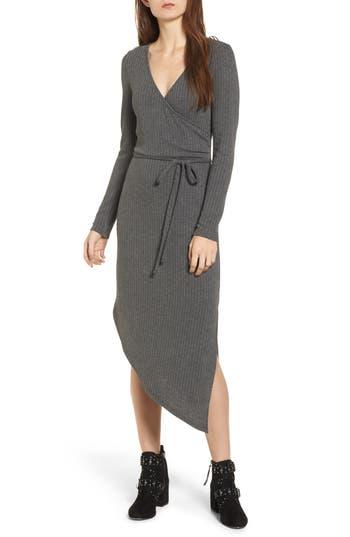 One Clothing Ribbed Knit Asymmetrical Wrap Midi Dress, Grey