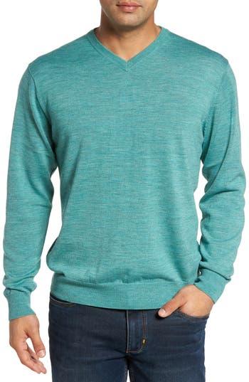 Big & Tall Cutter & Buck Douglas V-Neck Sweater, Green