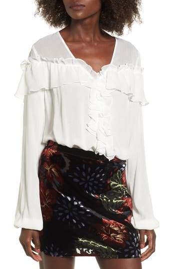 Victorian Blouses, Tops, Shirts, Vests Womens Band Of Gypsies Crepe Ruffle Blouse $79.00 AT vintagedancer.com