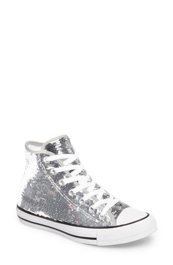 Women's Converse Chuck Taylor All Star Sequin High Top Sneaker, Size 5 M - Metallic