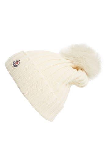 Women's Moncler Genuine Fox Fur Pom Wool Beanie - White