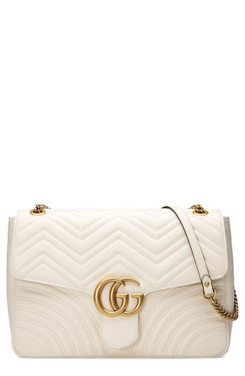 Gucci Gg Large Marmont 2.0 Matelasse Leather Shoulder Bag - White