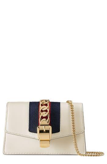 Women's Gucci Super Mini Sylvie Chain Wallet - White