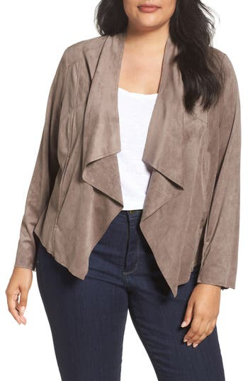 Plus Size Women's Kut From The Kloth Drape Front Faux Suede Jacket