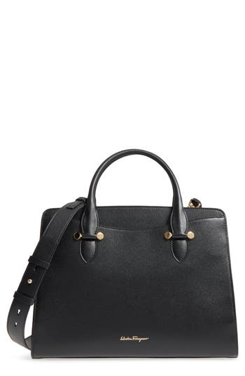 Salvatore Ferragamo Large Leather Satchel - Black