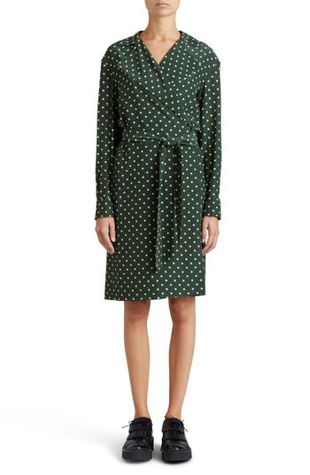 Burberry Janis Polka Dot Silk Wrap Dress, 8 IT - Green