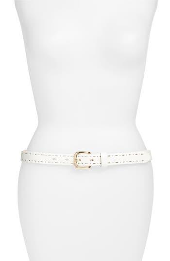 Elise M. Trevor Perforated Leather Hip Belt, White