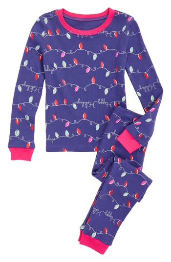 Girl's Tucker + Tate Glow In The Dark Two-Piece Fitted Pajamas
