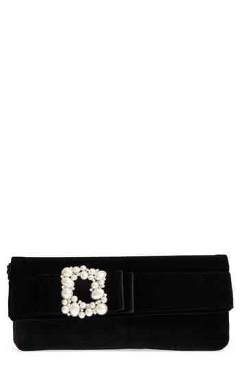 Nina Kalie Embellished Velvet Clutch - Black