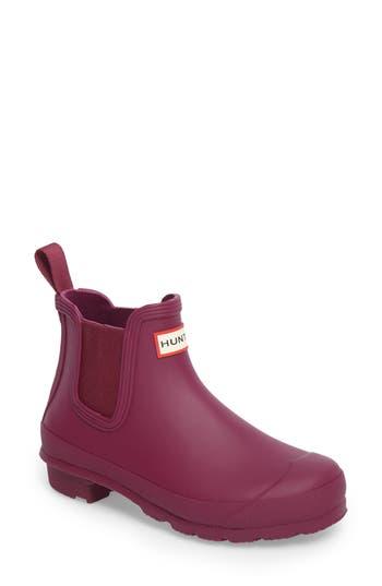 Women's Hunter 'Original' Waterproof Chelsea Rain Boot, Size 6 M - Purple