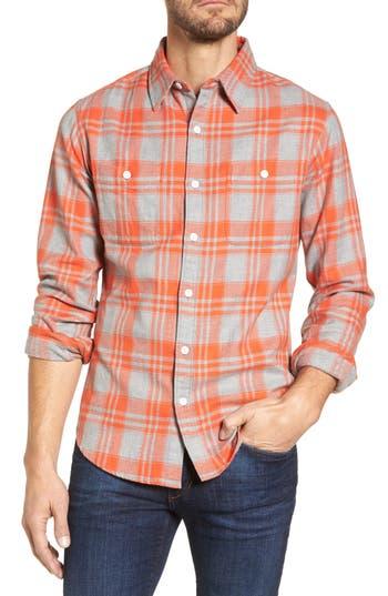 Men's Bonobos Slim Fit Plaid Flannel Shirt, Size Small - Orange