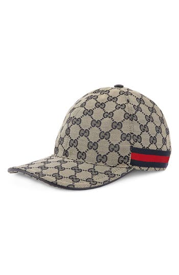 db8d940a9d4 Gucci Men S Gg Canvas Baseball Hat With Blue Red Web