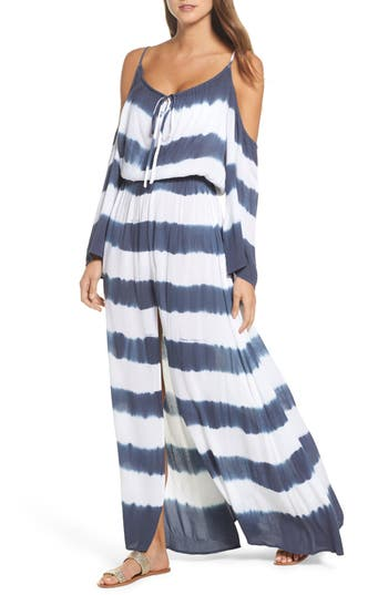 Elan STRIPE MAXI COLD SHOULDER DRESS