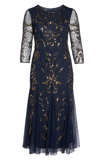 Plus Size Vintage Dresses, Plus Size Retro Dresses Plus Size Womens Pisarro Nights Embellished Three Quarter Sleeve Gown Size 24W - Blue $218.00 AT vintagedancer.com