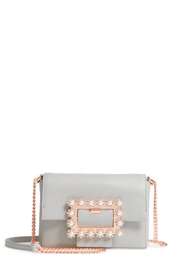 Ted Baker Leathers PEONYY EMBELLISHED BUCKLE LEATHER CLUTCH - BLACK