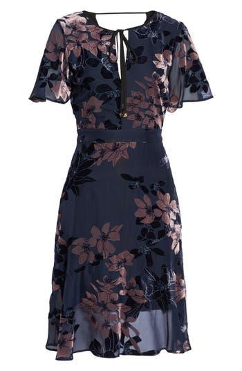 Sam Edelman Burnout Floral Flare Hem Dress, Blue