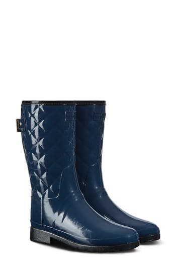 Hunter Refined High Gloss Quilted Short Rain Boot, Blue