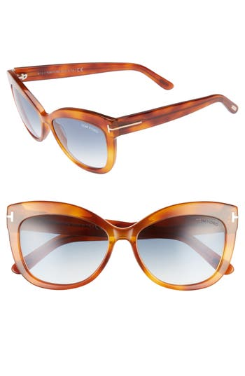 Tom Ford Alistair 5m Gradient Sunglasses - Blonde Havana / Gradient Blue