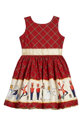 Kids 1950s Clothing & Costumes: Girls, Boys, Toddlers Toddler Girls Fiveloavestwofish Nutcracker Border Print Dress Size 3T - Red $104.00 AT vintagedancer.com