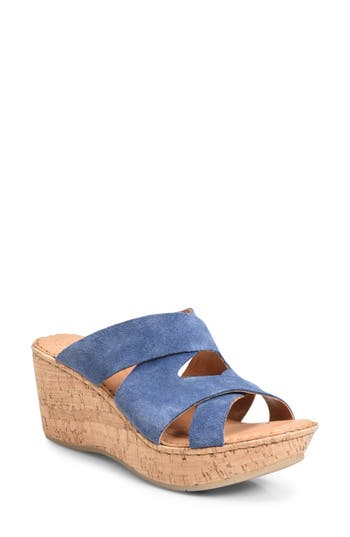 Women's B?rn Padron Wedge Sandal, Size 11 M - Blue