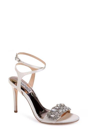 Badgley Mischka Hailey Embellished Ankle Strap Sandal, White