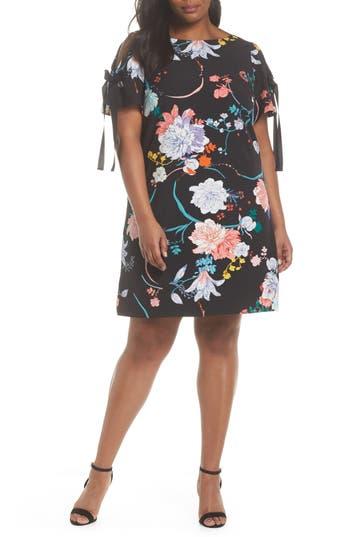 Plus Size Adrianna Papell Zen Blosson Shift Dress, Black