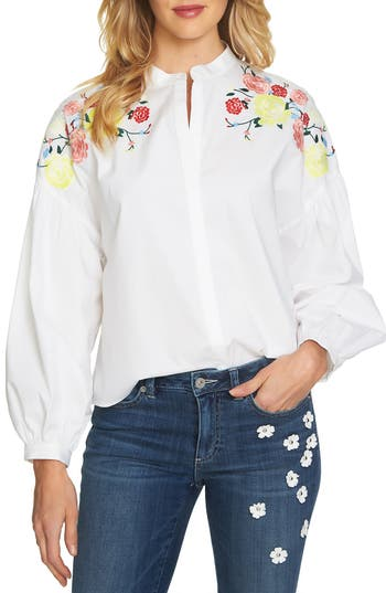 Edwardian Blouses | White & Black Lace Blouses & Sweaters Womens Cece Embroidered Shoulder Blouse $99.00 AT vintagedancer.com
