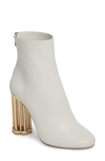 Salvatore Ferragamo Coriano Statement Heel Bootie - White
