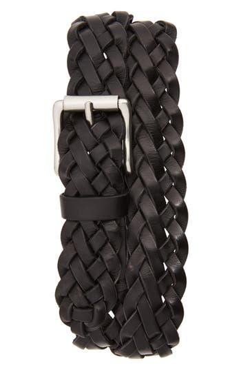 Frye Woven Leather Belt, Black