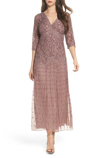 Pisarro Nights Beaded Mesh Dress, Purple