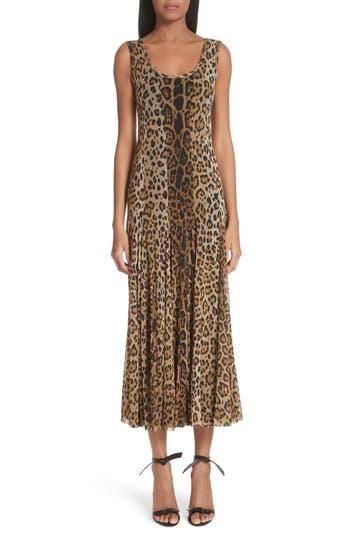 Fuzzi Leopard Print Tulle Maxi Dress, Brown