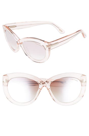 Tom Ford Diane 5m Butterfly Sunglasses - Transparent Pink/ Pink/ Silver