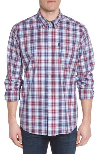 Barbour Leo Trim Fit Plaid Sport Shirt, Red