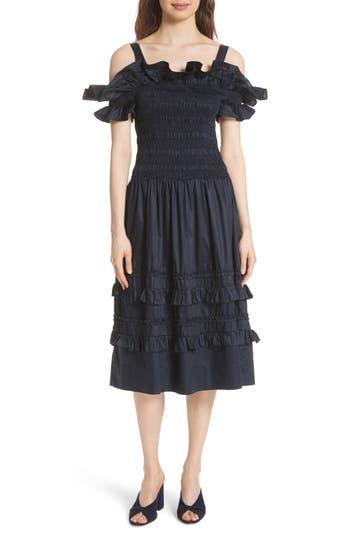 Rebecca Taylor Cold Shoulder Smocked Cotton Dress, Blue