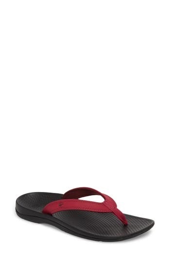 Women's Superfeet Outside 2.0 Flip Flop, Size 9 M - Red